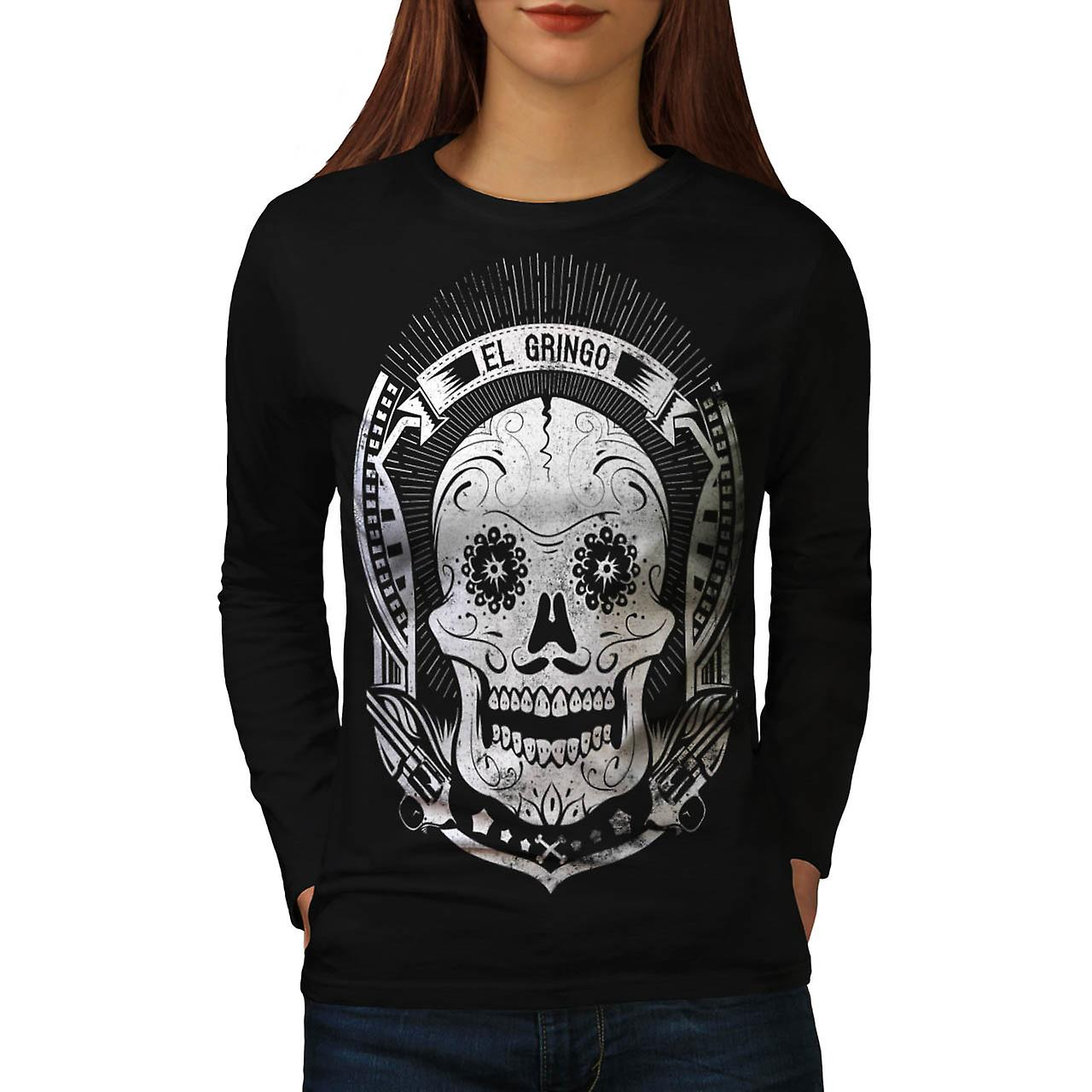 Mexican Skull Death Evil Monster Women Black Long Sleeve T-shirt | Wellcoda