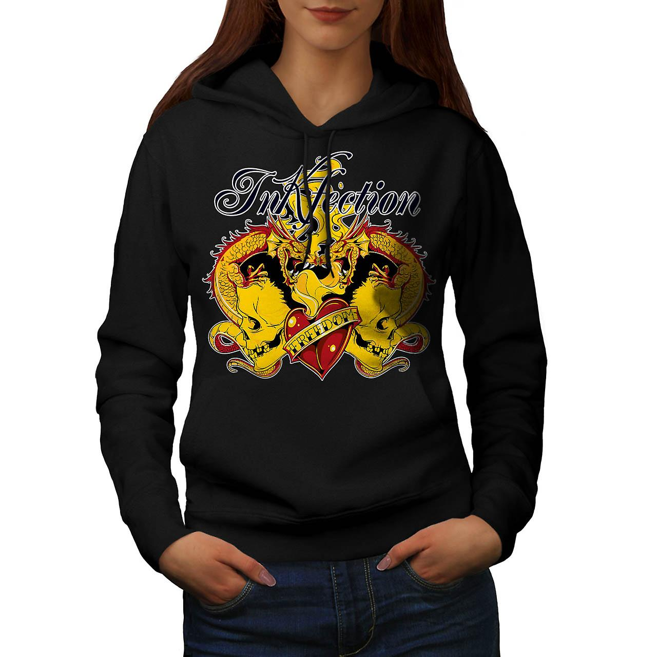 Ink Infection Tattoo Dragon Dead Women Black Hoodie | Wellcoda