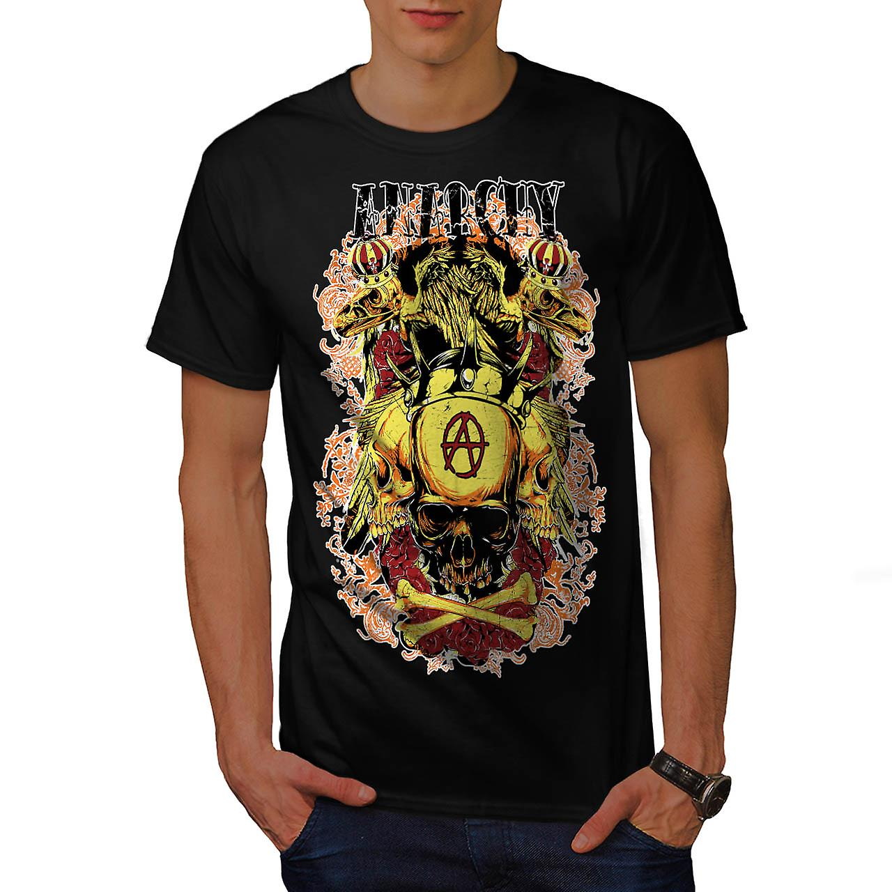 Anarchy Royal Skull Tattoo Head Men Black T-shirt | Wellcoda