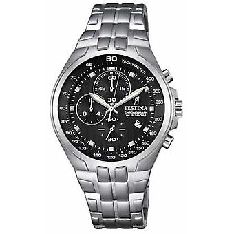 Festina Mens Chronograph Stainless Steel Bracelet Black Dial F6843/4 Watch