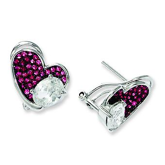 Sterling Silver and Cubic Zirconia Brilliant Embers Pink Heart Post Earrings