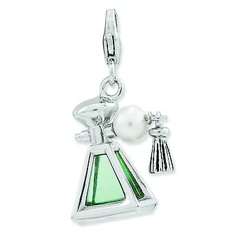 Sterling Silver 3-d Perfume Freshwater Cultured Pearl Bottle With Lobster Clasp Charm