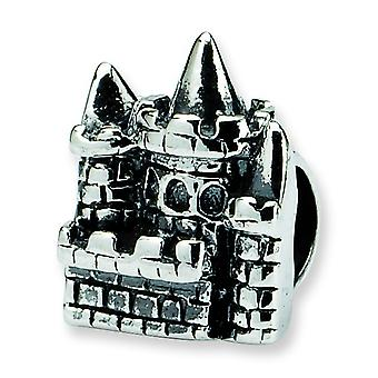 Sterling Silver Polished Antique finish Reflections SimStars Kids Castle Bead Charm