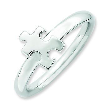 2.5mm Sterling Silver Stackable Expressions Rhodium-plated Awareness Puzzle Piece - 10 Inch