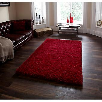 Modern Quality Red Shaggy Wool Rug - Athens