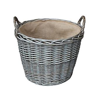 Mittlere Antik Wash Finish Wicker ausgekleidet Log Körbe