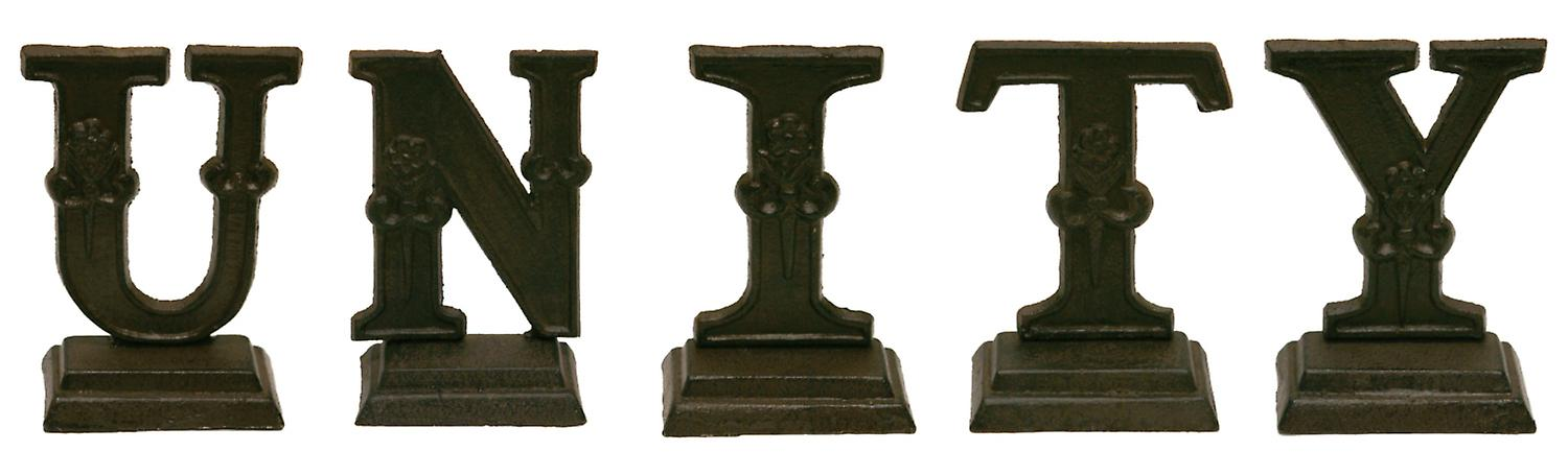 Iron Ornate Standing Monogram Letter U Tabletop Figurine 5 Inches