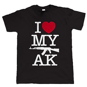 Jag älskar min AK, Mens Gamer Airsoft eller Paintball AK47 T Shirt