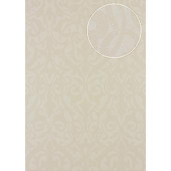 Baroque wallpaper Atlas PRI-545-5 non-woven wallpaper structured creamy white in a textile look matte beige bright ivory 5.33 m2