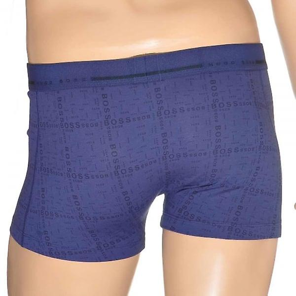 HUGO BOSS Logo Print Cotton Stretch Boxer Trunk, Open Blue, Medium