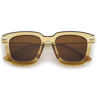 Oversize Slim Metal Temple Square Lens Horn Rimmed Sunglasses 50mm