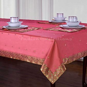 Rosa - Sari hecho a mano mantel (India)