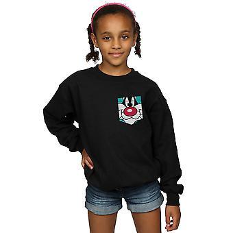Looney Tunes Girls Sylvester Face Faux Pocket Sweatshirt
