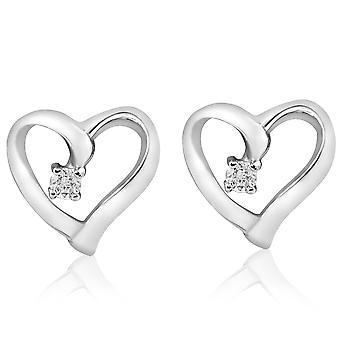 Diamant Herz Form Ohrringe 14K Gold