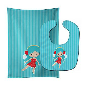 Каролинских сокровища BB8676STBU Синий волосатая фея ребенок нагрудник & Берп Ткань