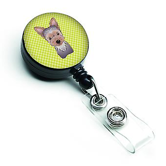 Checkerboard Lime Green Yorkie Puppy Retractable Badge Reel