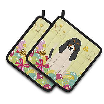 Carolines Treasures  BB6044PTHD Easter Eggs Swiss Hound Pair of Pot Holders