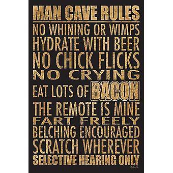 Cueva de hombre reglas de impresión de póster por Lauren Rader (12 x 18)
