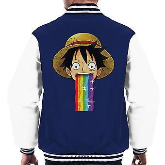Ett stykke Monkey D Luffy Puking Rainbow Snapchat Filter menn Varsity jakke