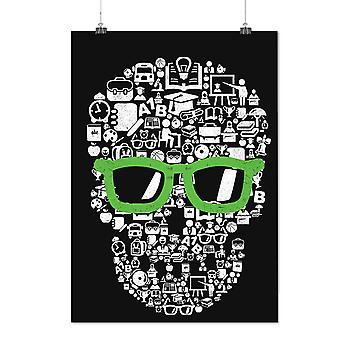 Matte or Glossy Poster with Swag Cool Head Face Skull | Wellcoda | *d2363