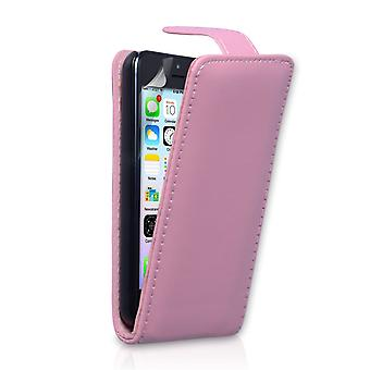 Yousave Accessories Iphone 5c Leather-Effect Flip Case - Baby Pink