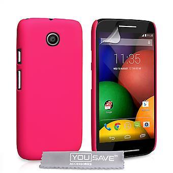 Yousave Zubehör Motorola Moto E harte Hybrid Case - Hot Pink