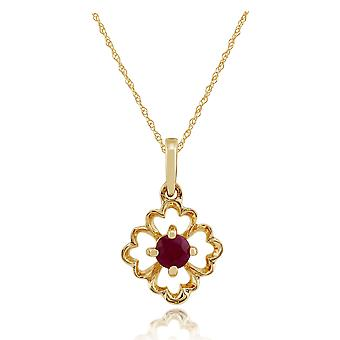 Gemondo 9ct Yellow Gold 0.16ct Floral Ruby Pendant on Chain