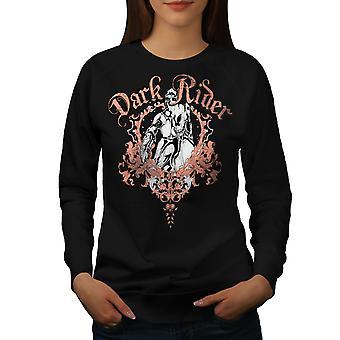Dark Rider Metal Biker Women BlackSweatshirt | Wellcoda