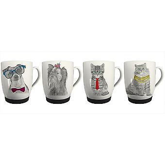 New Bone China Mugs Set of 4 Cat & Dog Design Coffee Home Kitchen Office Cups