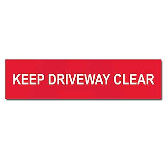 ASEC Self Adhesive `Keep Driveway Clear` Sign 200mm X 50mm