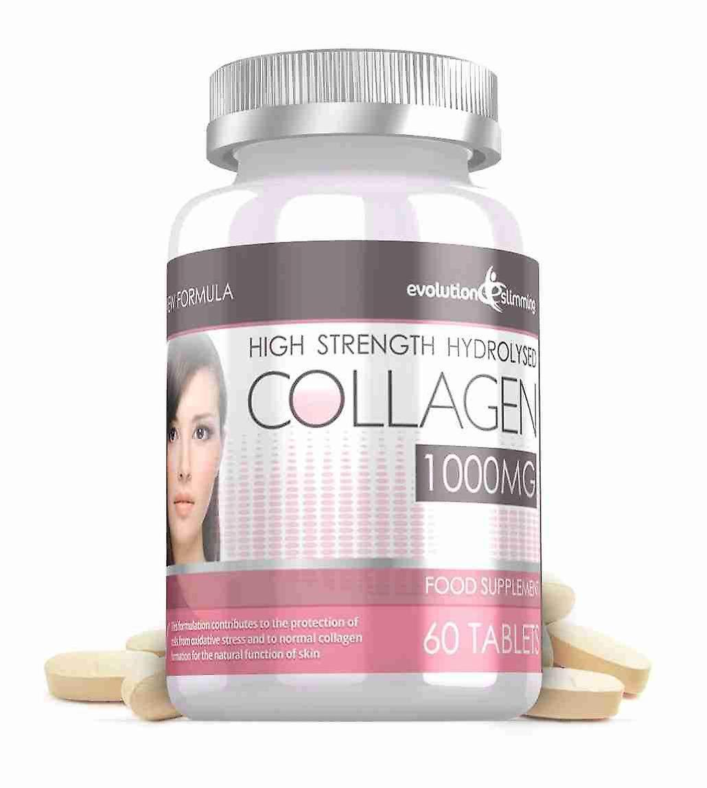 Hydrolysed Collagen High Strength 1,000mg for Hair, Skin and Nails + Vitamin C - 60 Tablets - Skin and Joint Health - Evolution Slimming