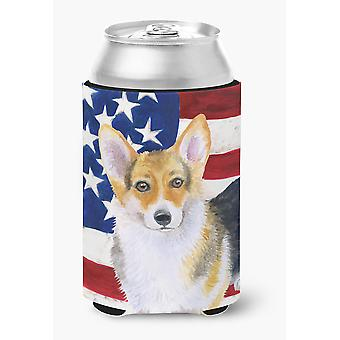 Carolines Treasures  BB9642CC Pembroke Corgi Patriotic Can or Bottle Hugger