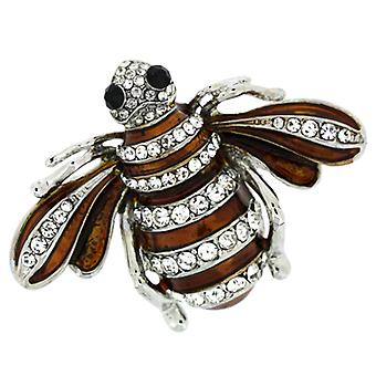 Brooches Store Brown Enamel and Crystal Insect Bee Brooch