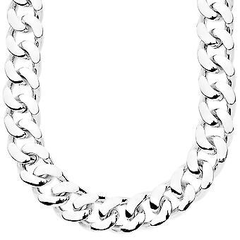 Iced out bling kæde - PLAIN CUBANSKE 15 mm sølv