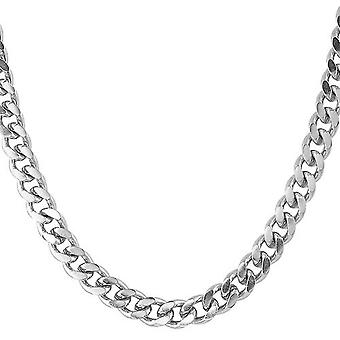 Iced out stainless steel curb chain - CUBAN 8 mm silver