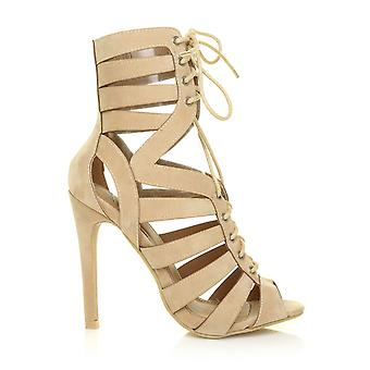 HAZEL Nude Faux Suede Caged Lace Up Peep Toe High Heel Sandals