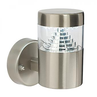 Brushed Stainless Steel & Clear Pc 1lt Wall IP44 3.5W