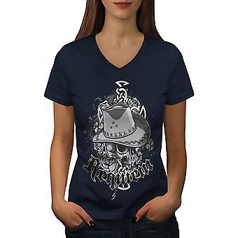 Fashion Dead Cowboy Skull Women NavyV-Neck T-shirt   Wellcoda