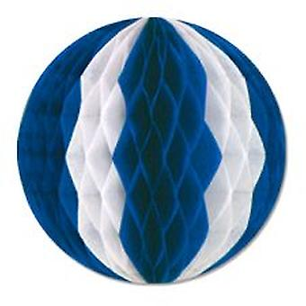 Guirnalda de bola azul y blanca del tejido