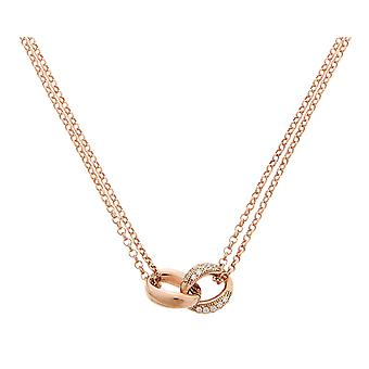 Orphelia Silver 925  Necklace Rose Double Chain 2 Links Zirc  ZK-7176/RG