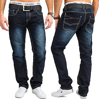 Men's regular fit size over Jeans Blau washed cotton five Pocket trousers W34 - W44