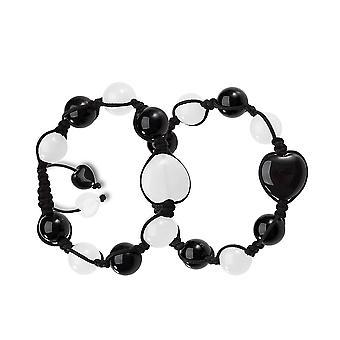 Yin Yang hjerter energi kærlighed par eller bedste venner Magic Powers agat hvid kvarts perler armbånd