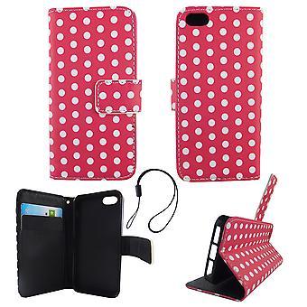 Handyhülle Tasche für Handy Apple iPhone 5 / 5s / SE Polka Dot Pink Weiss