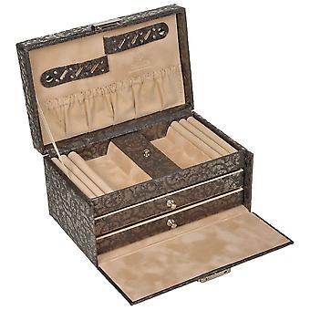 Sacher mål smycken smyckeskrin TYLL antracit grå låsbara lådor