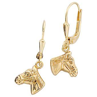Boutons 333 /-g-hest hodet øredobber hest gull hesten øredobber gull hest smykker