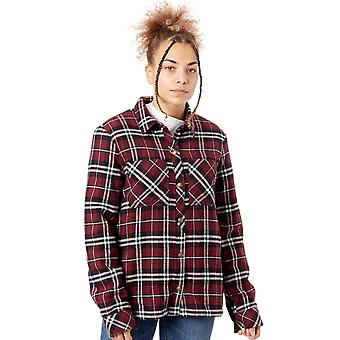 Volcom Burgundy Plaid About You - Sherpa Lined Womens Short Sleeved Shirt