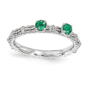 2.5mm Sterling Silver Polished Prong set Rhodium-plated Stackable Expressions Created Emerald Two Stone Ring - Ring Size