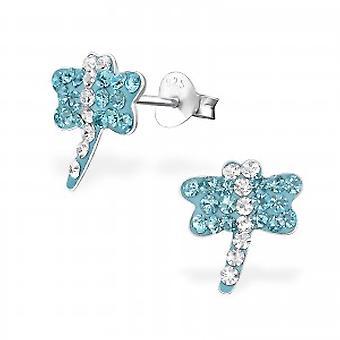 Девушки синий кристалл серьги стрекозы