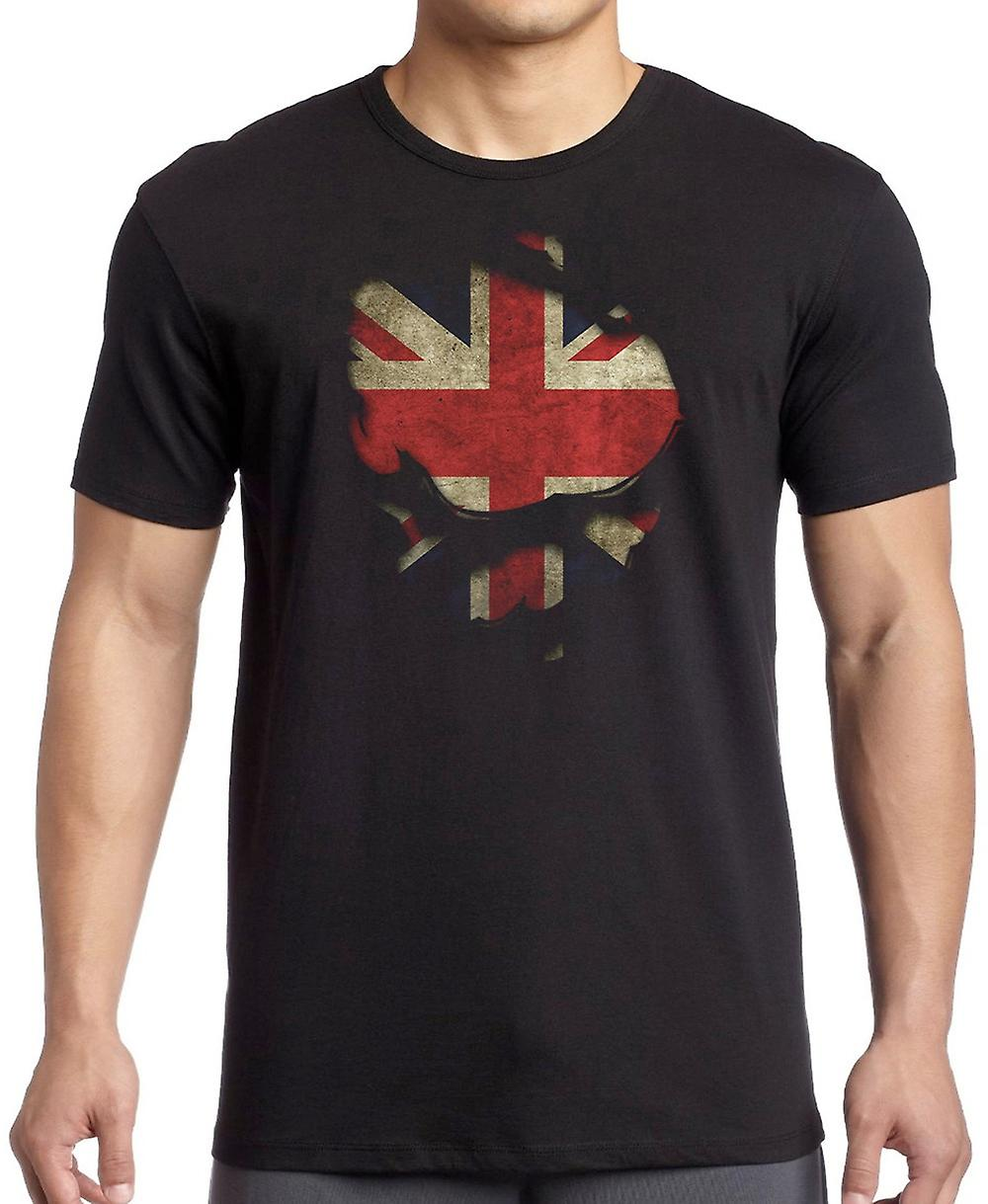 Union Jack United Kingdon Riss Effekt unter Shirt Kinder T Shirt