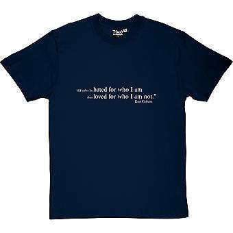 Kurt Cobain odiava t-shirt citação masculina